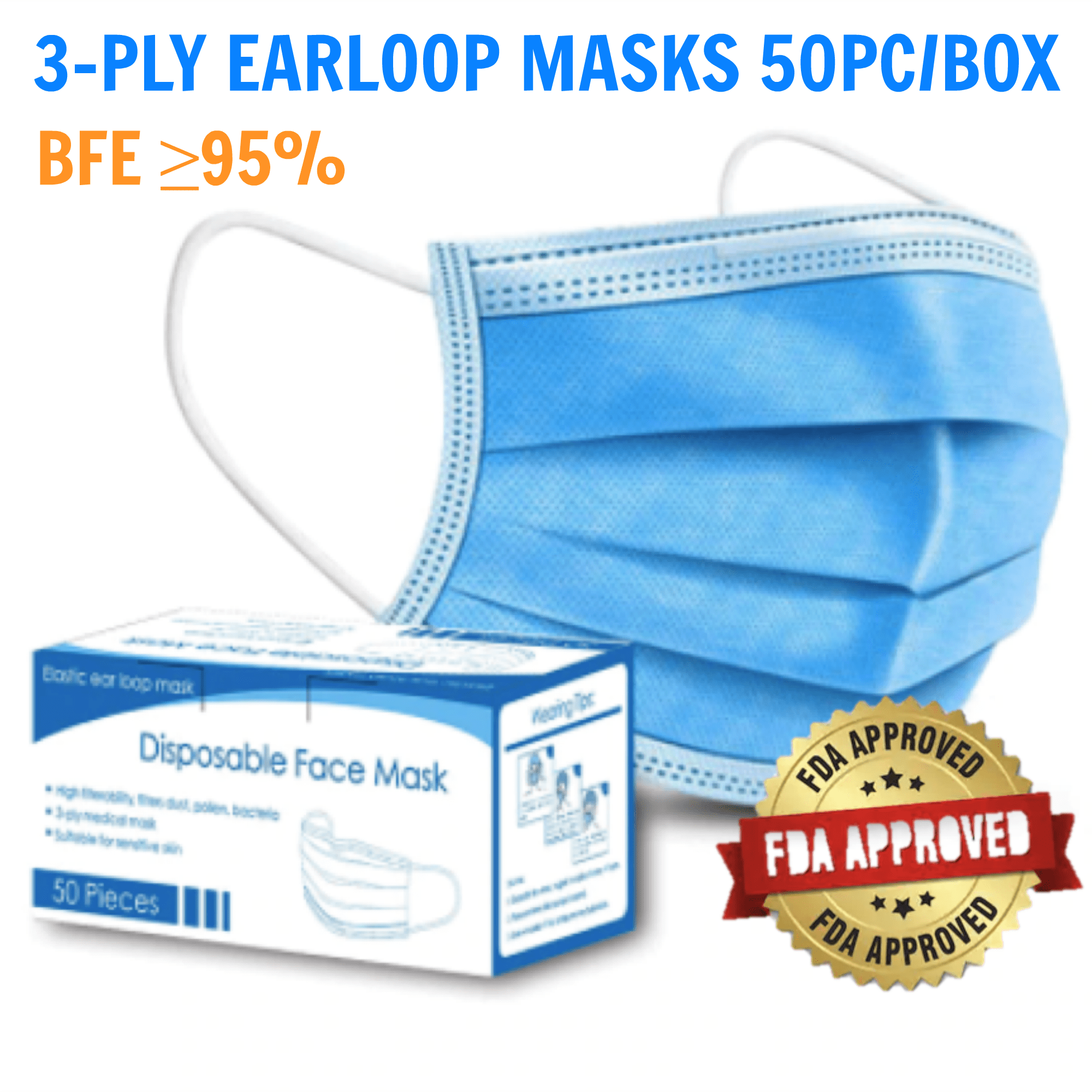 50pc/box Certified 3-Ply Earloop Disposable Masks with BFE ≥95%