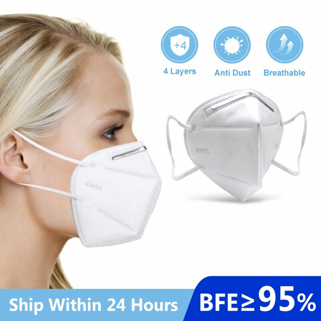 Disposable KN95 Face Masks with BFE≥95% (Available in packs of 10, 20, 30, 40 & 50)